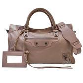 【Balenciaga 巴黎世家】115748 巴黎世家經典City系列銅釦手提機包(粉藕色)