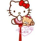♥小花花日本精品♥ Hello kitty格子洋裝坐姿小熊手拿扇手搖扇隨身扇涼快輕便夏日外出必備33127804