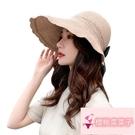 韓版空頂可折疊遮陽太陽帽防曬帽子女遮陽帽夏天【櫻桃菜菜子】