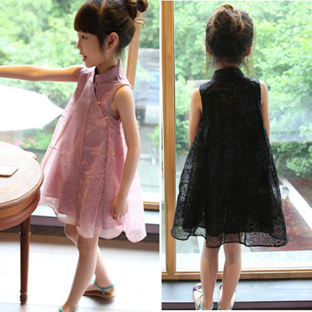 2020夏裝童裝韓版中小童女童寶寶旗袍蕾絲連衣裙短袖禮服公主0182兒童洋裝 美芭