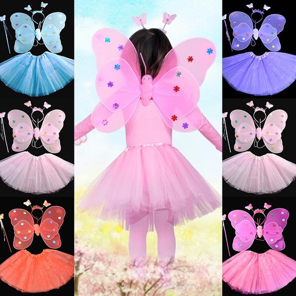【塔克】蝴蝶裝扮 萬聖節 滿天星翅膀(4件套) 雙層蝴蝶翅膀 蝴蝶裝 舞會表演 演出道具 變裝秀