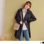 巴黎時尚.收腰傘擺不易皺長版大衣外套 OrangeBear《EA3055》