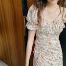 2021春夏方領油畫花邊洋裝短袖法式甜橙碎花泡泡袖長裙女 黛尼時尚精品