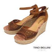 Tino Bellini 巴西進口切割皮紋圖騰鏤空楔型涼鞋_ 棕 A73006A 歐洲進口款