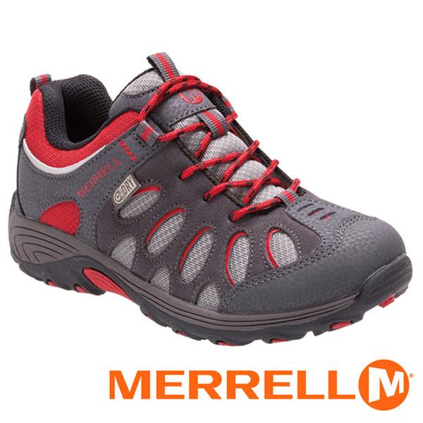 【美國 MERRELL】CHAMELEON LOW 童 防水健行鞋 灰/紅 55608 健行鞋│機能鞋│休閒鞋│登山│戶外
