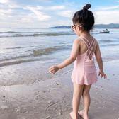 兒童泳衣女孩可愛吊帶連身公主裙式游泳衣小童兒童泳裝春夏女童裝