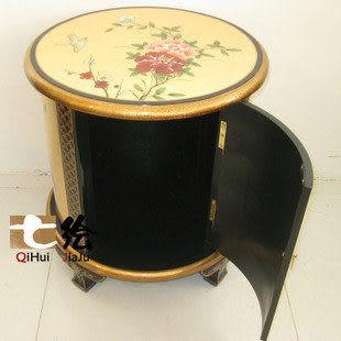 新古典中式漆器金箔 手繪彩繪 圓形花幾 床頭櫃