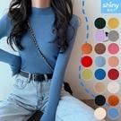 【V9288】shiny藍格子-甜美秋感.純色內搭修身半高領長袖針織上衣