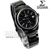 SIGMA 席格瑪   腕錶IP 黑電鍍銀色指針不銹鋼帶女錶9814B LB