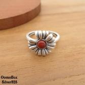 §海洋盒子§復古拉絲南紅瑪瑙花朵925純銀戒指.可調整戒圍