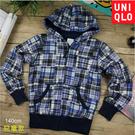 【大盤大】UNIQLO 兒童 長袖 外套 140cm 格紋 拉鍊 專櫃 正品 親膚 柔軟 帽外 彈性 美式 洋蔥式
