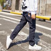 男童牛仔褲冬秋季新款韓版潮兒童裝秋裝中大童格子休閒長褲子 千惠衣屋