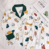 睡衣女秋季休閒韓版家居服套裝貓咪印花純棉長袖【奇趣小屋】