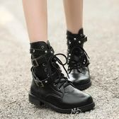 柳丁靴朋克短靴歐美機車靴子厚底馬丁靴羅馬鉚釘大碼女鞋 奇思妙想屋