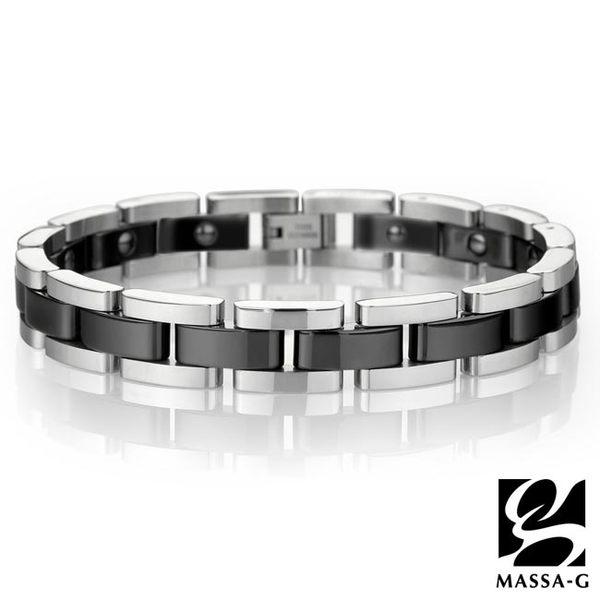 經典印記 黑色陶瓷白鋼手環 DECO X MASSA-G