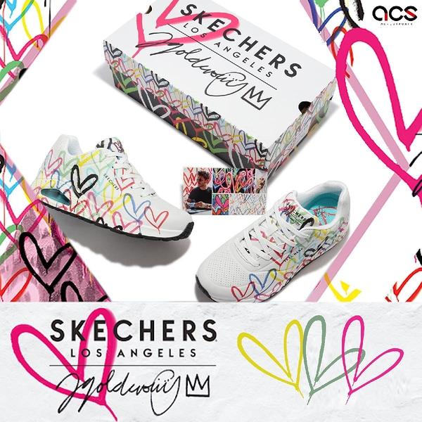 Skechers 休閒鞋 Uno Spread The Love 女鞋 JAMES GOLDCROWN 聯名款 白 愛心【ACS】 155507-WMLT
