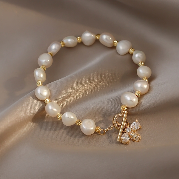 GOLICC古里雅巴洛克珍珠手鍊ins小眾設計復古女生手鐲蜜蜂手飾