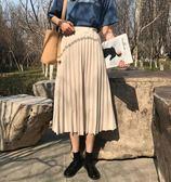 春夏新款韓版鬆緊高腰純色百搭中長裙子學生半身裙復古百褶裙 依夏嚴選