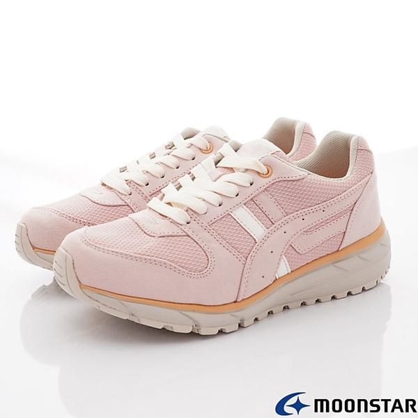日本月星Moonstar機能女鞋防水防滑系列3E寬楦抗菌穩定健走鞋款142TW4粉(女段)