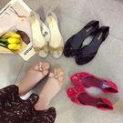 夏季新款女果凍鞋包頭沙灘塑膠水晶軟底平底...