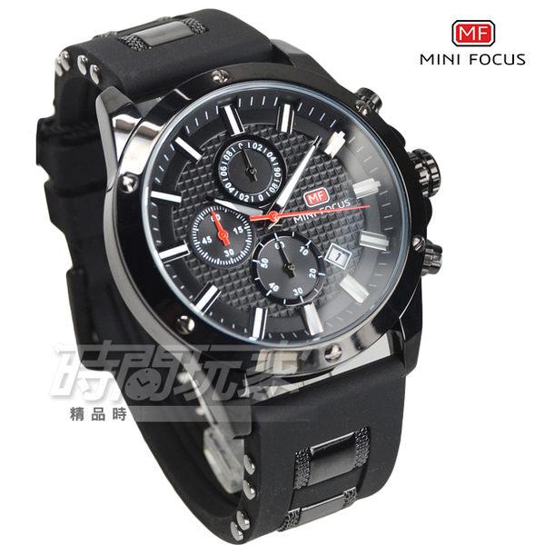MINI FOCUS 大錶徑流行帥氣三眼男錶 日期視窗 防水手錶 學生錶 黑 橡膠錶帶 MF0089全黑