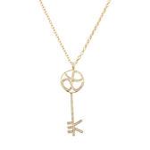項鍊 Necklace LOVE KEY 銅鍍14K金  施華洛世奇水鑽