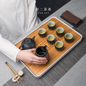儲水式茶盤竹制家用簡約現代長方形蓄水瀝水功夫茶具托盤茶臺套裝☌zakka
