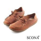 SCONA 蘇格南 全真皮 手工2way休閒鞋 咖啡色 7264-1