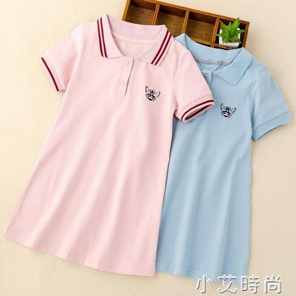 女童中長款休閒大童t恤裙夏季女孩學院風短袖洋裝寬鬆polo衫棉 小艾新品