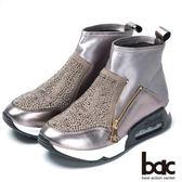 ★新品上市★【bac】混搭時尚 萊卡水鑽休閒短靴(銀灰)