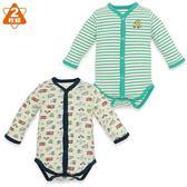 日本西松屋 美國棉前扣式長袖包屁衣二件組 綠條紋 男寶寶童裝【NI0255006】