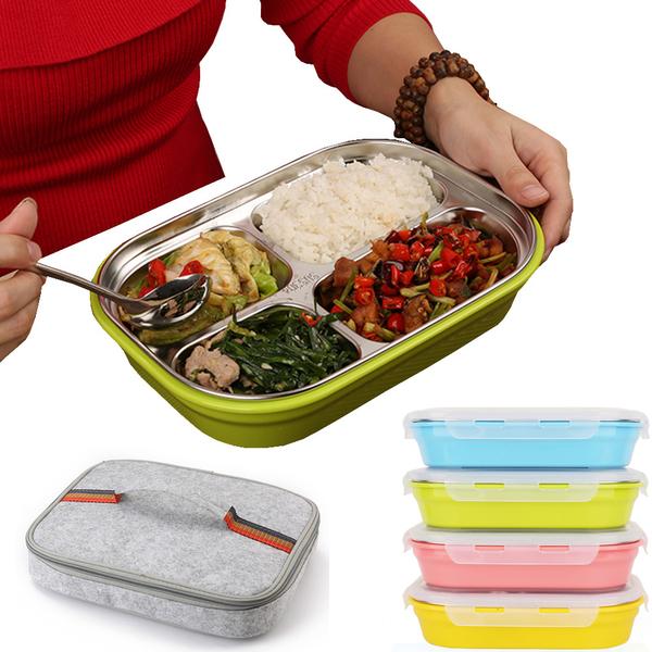 PUSH!餐具用品304不鏽鋼保溫飯盒便當盒防燙餐盤盒加保溫提袋1入E75-4