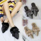 穆勒鞋女新款韓版女鞋尖頭毛毛鞋蝴蝶結包頭懶人半拖鞋 zm6697『俏美人大尺碼』