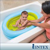 嬰兒充氣洗澡盆寶寶浴盆可坐躺新生幼兒洗浴盆折疊沐浴桶 深藏blue