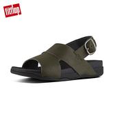 精選5折【FitFlop】BANDO BACK STRAP SANDALS IN PERFORATED LEATHER柔軟皮革後帶涼鞋-男(迷彩綠)