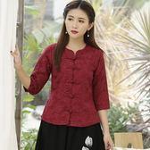 實拍棉麻提花中式唐女中式一字盤扣開衫短袖民族風上衣