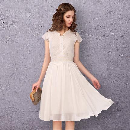 蕾絲繡花收腰雪紡洋裝