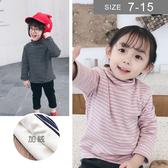 韓版男女童加絨長袖T恤。ROUROU童裝。冬男女童中小童高領條紋加絨長袖T恤 保暖衣 0341-497
