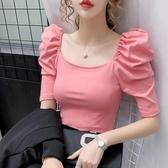 泡泡袖上衣 2020夏季網紅ins超火高腰短款泡泡袖方領鎖骨上衣短袖t恤女潮 麗人印象 免運