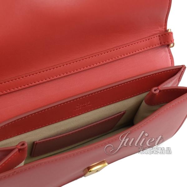 茱麗葉精品【全新現貨】 CHLOE 金屬C Mini 小牛皮斜背/手拿金鍊包.紅