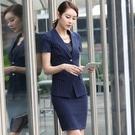 OL套裝(短袖裙裝)-條紋翻領顯瘦修身女...