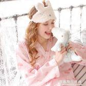 日式和服睡衣女夏純棉薄款紗布長袖甜美可愛公主風家居服女夏套裝
