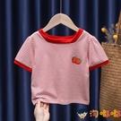 女童條紋短袖T恤兒童寶寶時尚小方領柔軟舒適打底衫夏款【淘嘟嘟】