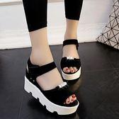 新款學生鬆糕女鞋厚底中跟女涼鞋高跟露趾休閒女士鞋子潮  卡布奇諾
