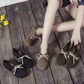 繫帶學生鞋兩穿圓頭豆豆鞋復古平底舒適女單鞋森系休閒鞋   居家物語