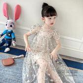 女童裙子兒童連身裙短袖洋氣刺繡蕾絲網紗公主裙