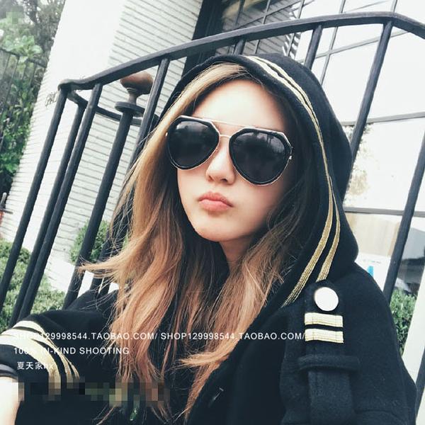[超豐國際]周揚青同款太陽眼鏡個性大框蛤蟆鏡防紫外線開車墨鏡1入