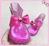 梅麗莎18新款兒童蝴蝶結水晶雨鞋女童閃粉果凍防滑水靴韓版公主鞋『韓女王』
