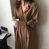 風衣大衣風衣大衣秋季2018新款韓版港味CHIC寬松大衣系帶收腰薄款中長款風衣外套女