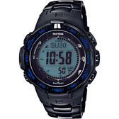 【CASIO 卡西歐】PRO TREK 專業登山太陽能電波手錶-藍 PRW-3100YT-1DR
